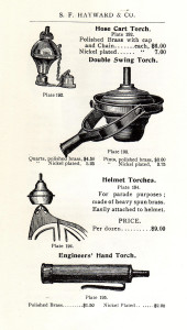 An advertisement for the helmet torches worn by the Historical Fire Company members at parades.